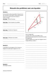 Résolution de problèmes avec une équation – Exercices à imprimer : 2eme Secondaire