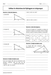 Utiliser le théorème de Pythagore et réciproque – Exercices à imprimer : 2eme Secondaire