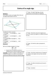 Cosinus d'un angle aigu – Exercices corrigés : 2eme Secondaire