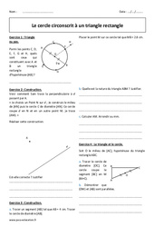 Cercle circonscrit – Triangle rectangle – Exercices corrigés : 2eme Secondaire