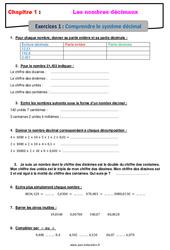 Comprendre le système décimal – Révisions – Exercices avec correction sur les nombres décimaux : 6eme Primaire