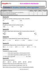 Encadrer, intercaler, valeur approchée – Examen Evaluation avec la correction sur les nombres décimaux : 6eme Primaire