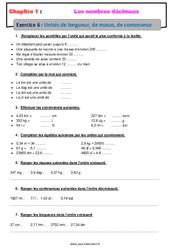 Unités de longueur, de masse, de contenance – Révisions – Exercices avec correction sur les nombres décimaux : 6eme Primaire