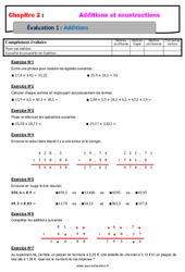 Addition des nombres décimaux – Examen Evaluation, bilan, contrôle avec la correction : 6eme Primaire