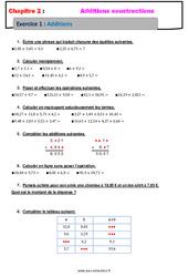 Addition des nombres décimaux – Révisions – Exercices avec correction : 6eme Primaire