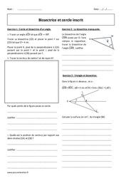 Cercle inscrit – Bissectrice – Exercices à imprimer : 2eme Secondaire