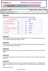 Calculs de durée – Examen Evaluation avec la correction – Addition et soustraction des nombres décimaux : 6eme Primaire