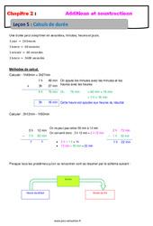 Calculs de durée – Cours – Addition et soustraction des nombres décimaux : 6eme Primaire