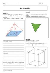 Pyramides – Exercices avec correction : 2eme Secondaire