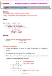 Définition et propriétés – Cours – Multiplication des nombres décimaux : 6eme Primaire