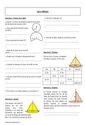 Cônes – Exercices à imprimer : 2eme Secondaire