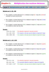 Multiplication des nombres décimaux par 10 ; 100 ; 1000 ; 0,1, ; 0,01 ; 0,001 – Cours : 6eme Primaire