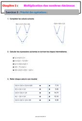 Priorité des opérations – Révisions – Exercices avec correction – Multiplication des nombres décimaux : 6eme Primaire