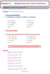 Priorité des opérations – Cours – Multiplication des nombres décimaux : 6eme Primaire