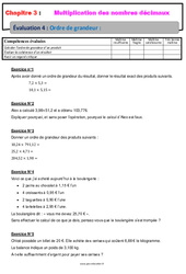 Ordre de grandeur d'un produit – Examen Evaluation avec la correction – Multiplication des nombres décimaux : 6eme Primaire
