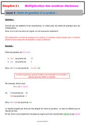 Ordre de grandeur d'un produit – Cours – Multiplication des nombres décimaux : 6eme Primaire
