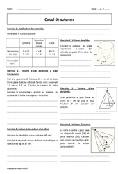 Calcul de volumes – Exercices à imprimer : 2eme Secondaire