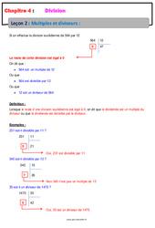 Multiples et diviseurs – Cours – Divisions : 6eme Primaire