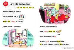 La visite de Mamie – Lecture compréhension – Histoire illustrée – Niveau 1 : 1ere Primaire
