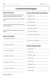 Développer – Distributivité – Exercices corrigés : 1ere Secondaire
