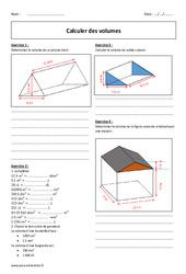 Calculer des volumes – Exercices à imprimer : 1ere Secondaire