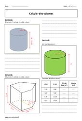 Volumes – Exercices corrigés – Calcul : 1ere Secondaire