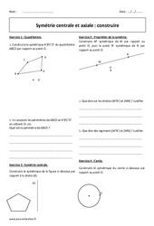 Centrale et axiale – Exercices à imprimer sur la symétrie : 1ere Secondaire