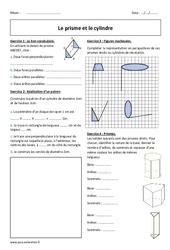 Prisme – Cylindre – Exercices corrigés : 1ere Secondaire