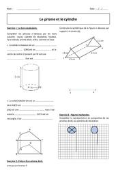 Cylindre – Prisme – Exercices à imprimer : 1ere Secondaire