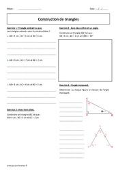 Construction de triangles – Exercices corrigés : 1ere Secondaire