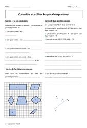 Parallélogrammes – Exercices avec correction sur les quadrilatères : 1ere Secondaire