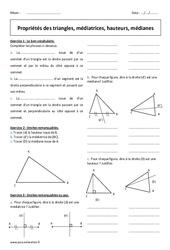 Propriétés des triangles, médiatrices, hauteurs, médianes – Exercices : 1ere Secondaire