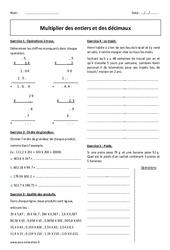 Multiplier des décimaux et des entiers – Exercices à imprimer sur les nombres : 6eme Primaire