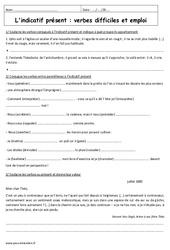 Indicatif présent – Verbes difficiles – Exercices corrigés : 3eme Secondaire
