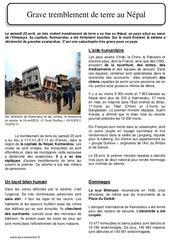 Grave tremblement de terre au Népal le 25 avril 2015 – Lecture documentaire : 4eme, 5eme Primaire