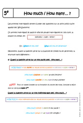 How much – How many… ? – Cours : 1ere Secondaire