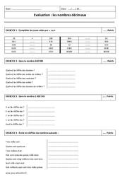 Décimaux – Connaitre et écrire les nombres – Examen Contrôle : 6eme Primaire