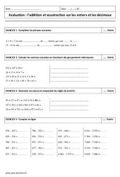 Addition et soustraction des décimaux et entiers – Examen Contrôle : 6eme Primaire