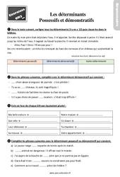 Exercices, révisions sur les déterminants possessifs et démonstratifs –  avec la correction : 5eme Primaire