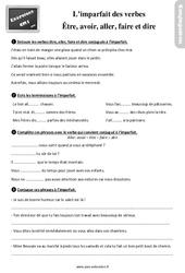 Révisions, exercices à imprimer sur l'imparfait des verbes être, avoir, aller, faire et dire au  : 4eme Primaire