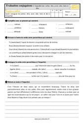 Conjugaison 4eme Primaire Exercice Evaluation Revision Lecon Pass Education