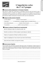 Révisions, exercices à imprimer sur l'imparfait des verbes des 1er ème groupes au  : 5eme Primaire