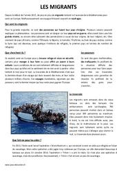 Les migrants – Lecture compréhension – Documentaire : 4eme, 5eme Primaire