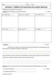 Addition et soustraction de décimaux – Examen Evaluation : 6eme Primaire