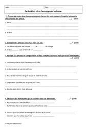 Homonymes lexicaux – Examen Evaluation à imprimer : 6eme Primaire