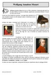 Mozart – Lecture documentaire : 3eme Primaire