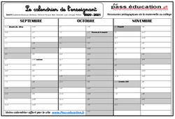 Calendrier de l'enseignant  2020 – 2021 – Zone A – B – C : Primaire – Cycle Fondamental