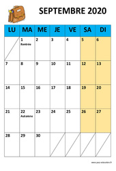 Calendrier perpétuel illustré par mois zone A – B et C – 2020 – 2021 : Primaire – Cycle Fondamental