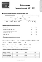 Exercices, révisions sur décomposer des nombres de 0 à 9 999 au  avec les corrections : 3eme Primaire