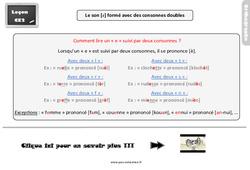 Leçon, trace écrite sur le son [è] avec des consonnes doubles au  : 3eme Primaire